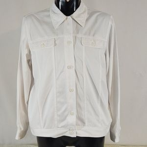 Alfred Dunner White Embroidery Jacket